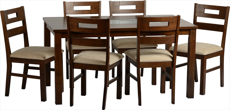 Chatsworth Walnut Finish & Frosted Glass Table & 6 Chairs