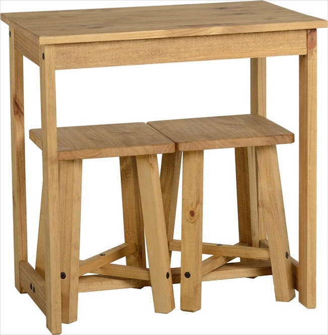 Corona Distressed Waxed Pine Table & 2 Stool Breakfast Set