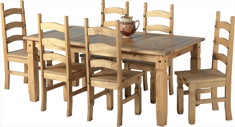 Corona Distressed Waxed Pine 6' Table & 6 Chairs