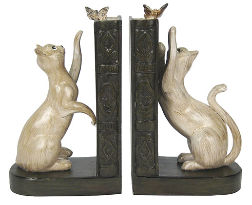 Resin Cat Bookends
