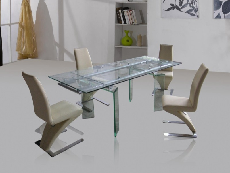 Crystal Glass Top Extending Table & 4 Ankara Chairs