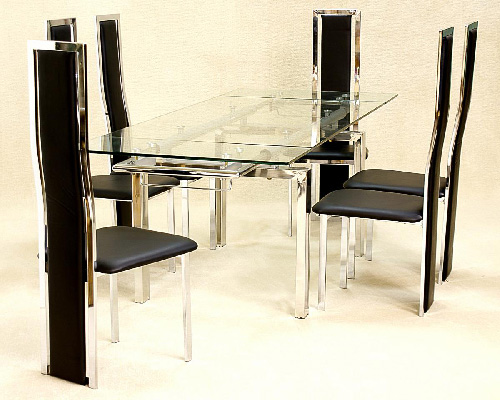 Crystal Extending Glass Top Dining Set