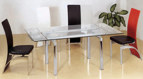 D62 Extending Glass Top Table