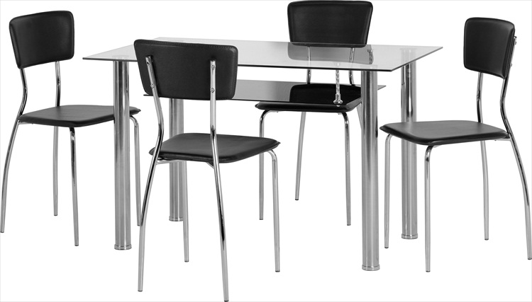 DOVER BLACK OR CLEAR GLASS & CHROME TABLE & 4 CHAIRS