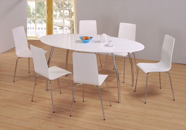 High gloss tables chairs tbs discount furniture a for White oval dining room table