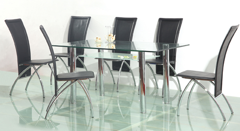 Freda Glass Top Table & 6 Chairs