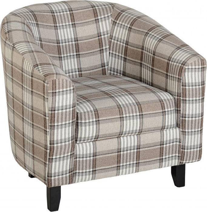 Hammond Tub Chair in Grey And Brown Tartan Fabric