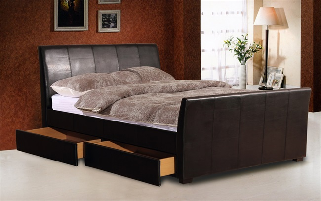 Harrogate Black or Brown pu 4 Drawer Bed From