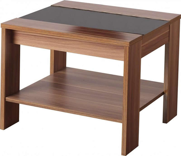 Hollywood Lamp Table in Walnut Veneer With Black Gloss