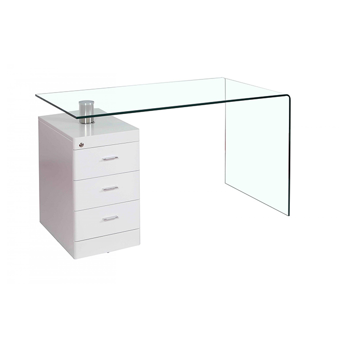Hornet Glass Top Computer Desk With 3 White Gloss Drawers