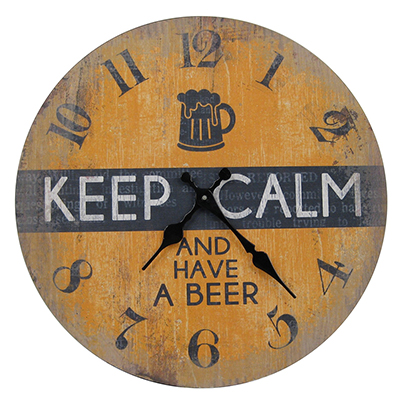 Wooden Clock Keep Calm & Have A Beer