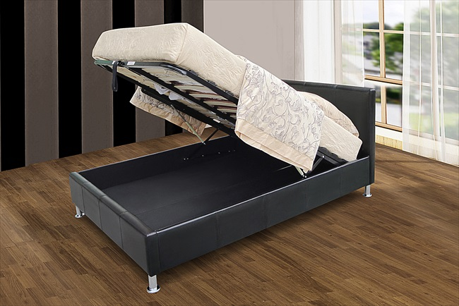 Kenneth Brown or Black Pu Storage Bed From