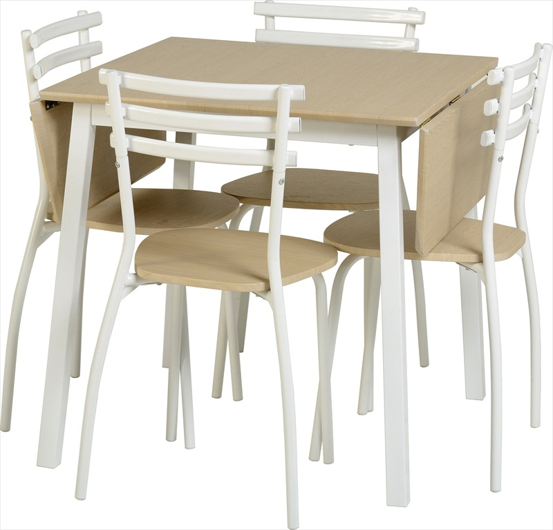 LANGLEY BEECH/WHITE FINISH DROP LEAF TABLE & 4 CHAIRS