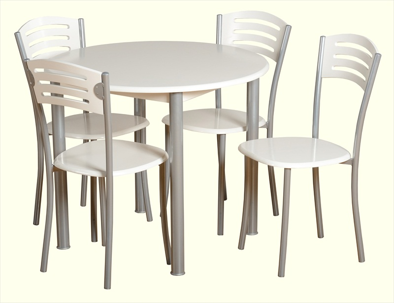 LAURA WHITE / SILVER ROUND TABLE & 4 CHAIRS