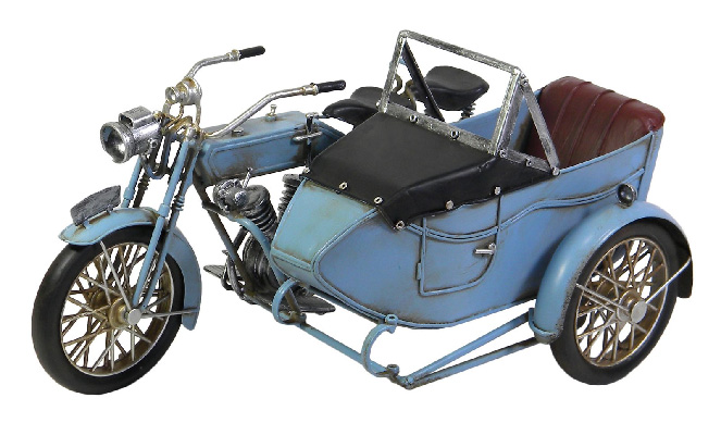 Repro Tin Light Blue Motorcycle With Side Car