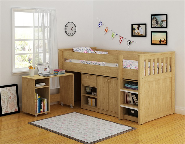 Merlin Oak or Oak /White Finish Study Bunk
