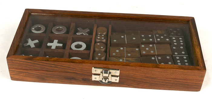 Multi Game Set Of Dominoes, Dice, & Tic Tac Toe - Click Image to Close