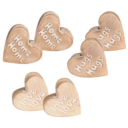 "Mango Wood ""Home, Hugs & Loves"" Assorted Set Of 6 Paper Clip"