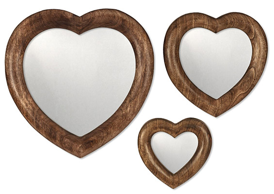 Mango Wood Set Of 3 Standing or Hanging Heart Mirrors