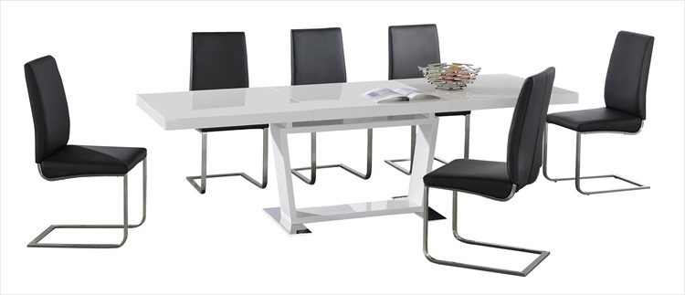 Maxwell Extending High Gloss Black or White Table & 6 Chairs