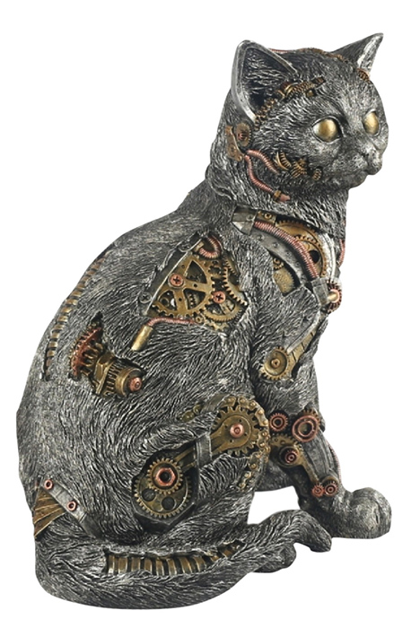 Steam Punk Design Cat Statue Large