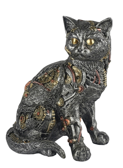 Steam Punk Design Cat Statue Small