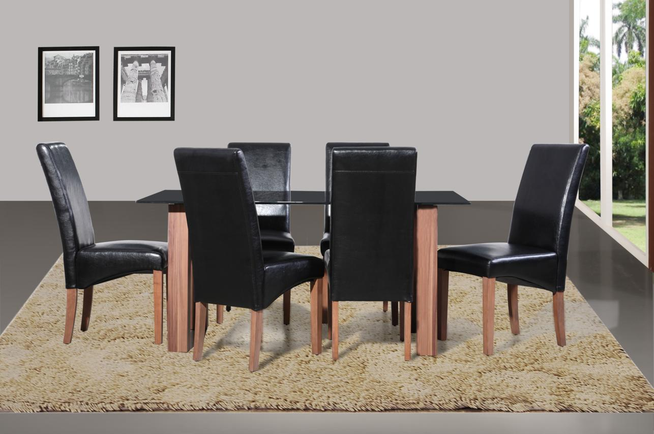 "Mirage ""Black"" Table & 6 Chairs"