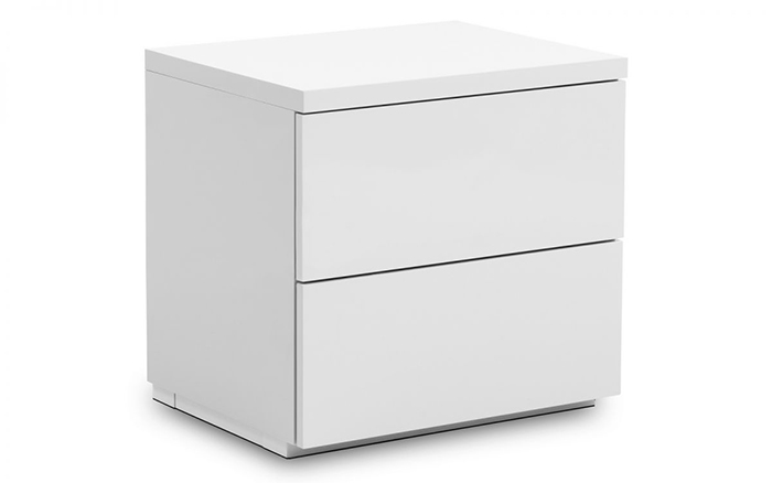 Monaco 2 Drawer Bedside White High Gloss