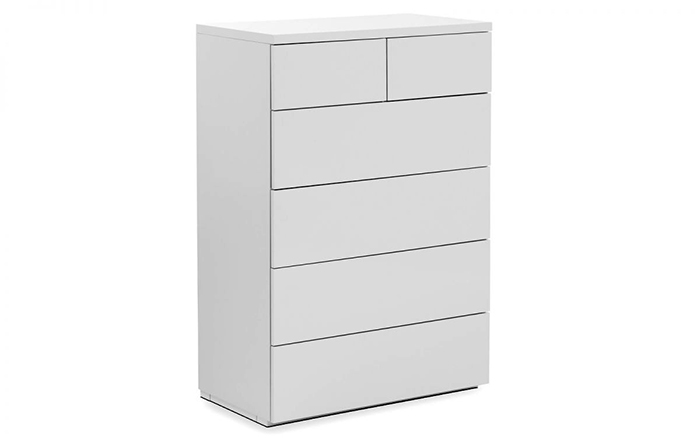 Monaco 4+2 Drawer Chest White High Gloss