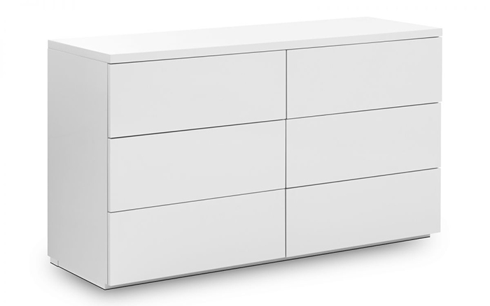 Monaco 6 Drawer White High Gloss