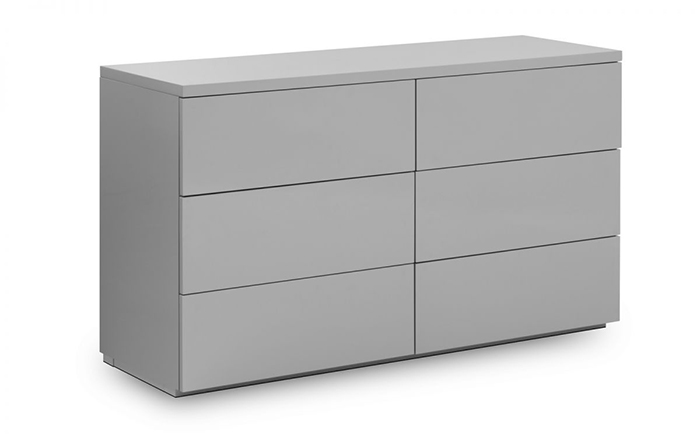Monaco 6 Drawer Wide Chest Grey High Gloss