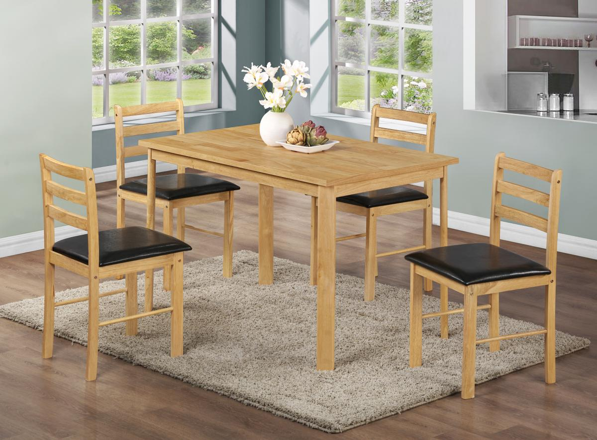 NICE NATURAL OAK FINISH TABLE & 4 CHAIRS