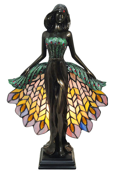 Nymph With Tiffany Peacock Shade Lamp