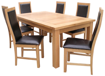 Olivia Oak Finish Table & 6 Salina or Victoria Chairs