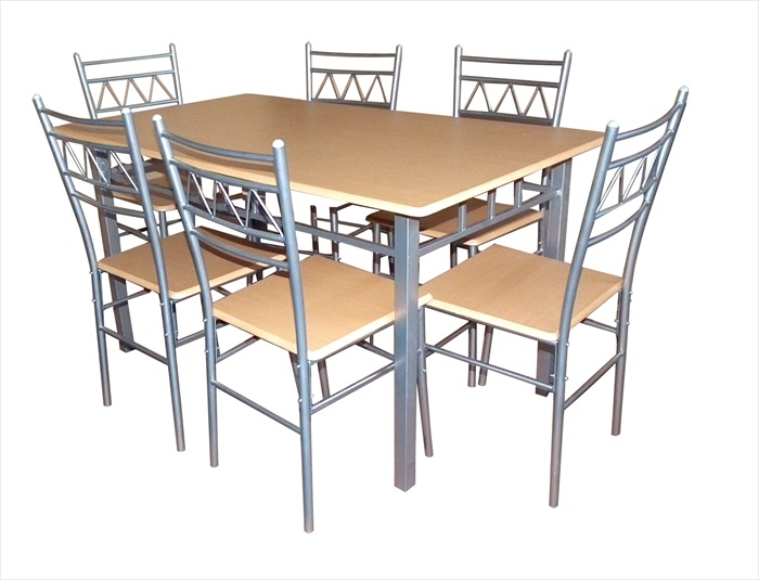 Oslo Silver & Beech Finish Table & 6 Chairs
