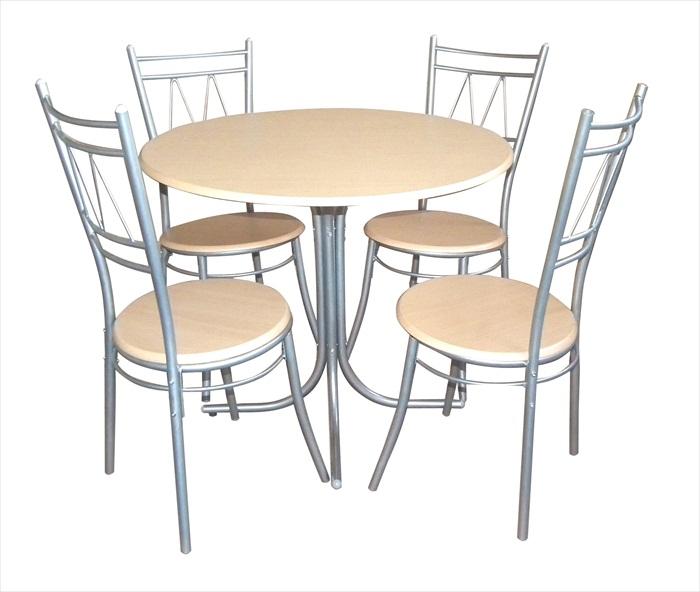 Oslo Silver U0026 Beech Finish Round Table U0026 4 Chairs