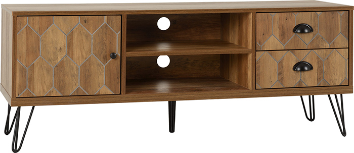 Ottawa 1 Door 2 Drawer TV Unit In Medium Oak Effect