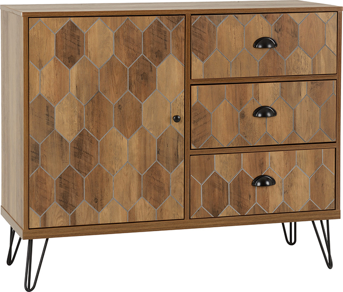 Ottawa 1 Door 3 Drawer Sideboard In Medium Oak