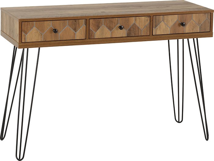 Ottawa 3 Drawer Console Table In Medium Oak Effect