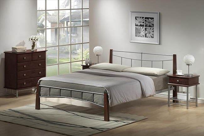 Pamela Silver & Dark Oak Finish Bedsteads From