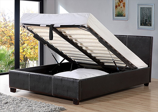 "Pavia 4'6"" Storage Brown or Black pu Bedstead From"