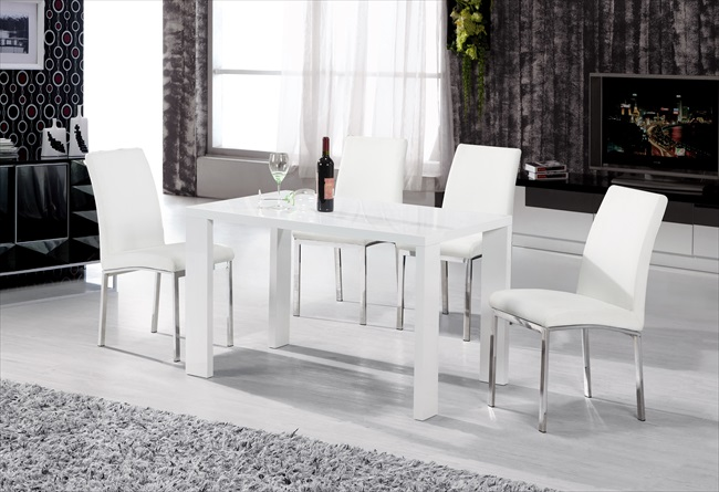Peru White Gloss Table & 4 Chairs
