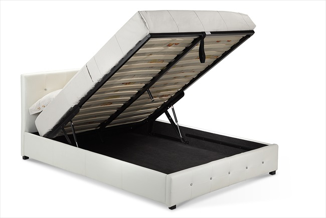 Quartz White / Brown or Black pu Storage Beds From