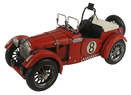 Repro Tin Red Racing Car With Hood Strap