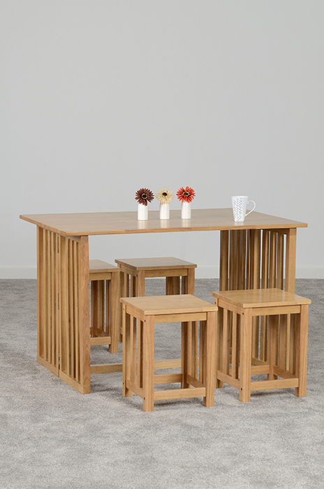 Richmond Foldaway Dining Set in Oak Varnish (4 Stools)