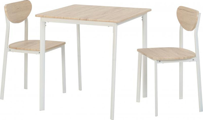 Riley Small Dining Set in White With Light Oak Effect Veneer