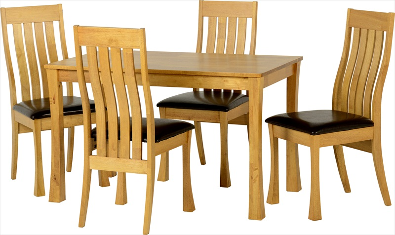 Saxton Light Oak Finish Table & 4 Chairs - Click Image to Close