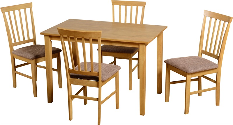 Salina Natural Oak Finish Table & 4 Chairs