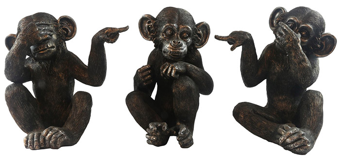 Set Of 3 Large Resin Monkeys