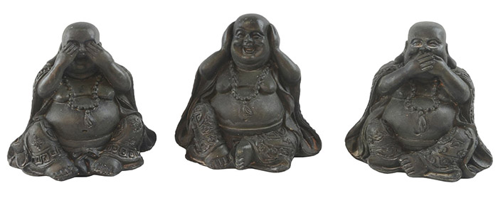 Set Of 3 Resin See, Hear, Speak No evil Buddhas